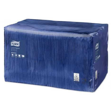 Tork lunchservet 33x33cm 1-laags 1/4-vouw midnight blue 9x500