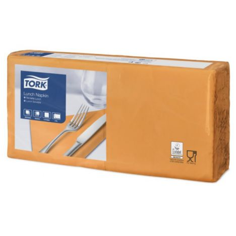 Tork lunchservet 33x33cm 2-laags 1/4-vouw orange 10x200
