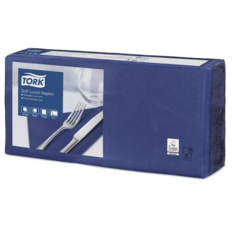 Tork lunchservet 33x33cm 3-laags 1/4-vouw midnight blue 10x150
