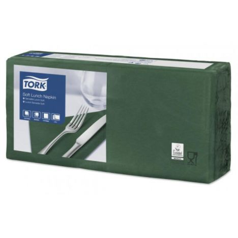 Tork lunchservet 33x33cm 3-laags 1/4-vouw mountain pine green 10x150
